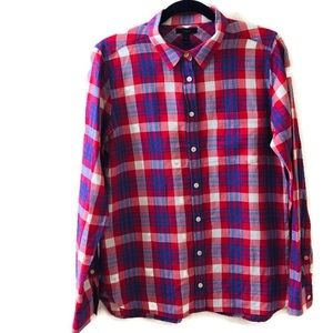 J.Crew Plaid Red/Blue Button Down Shirt Sz 8